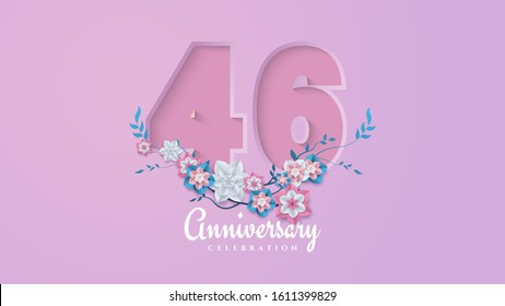 46th anniversary background with feminine figures and flower illustrations.