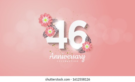 46th anniversary background with flower illustrations on white numbers on a pink background.
