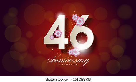 46th anniversary background with an illustration of a white figure with a light blur on a dark red background.