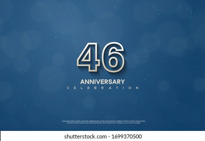46th anniversary background with illustrations of figures and writing below on a dark blue background.