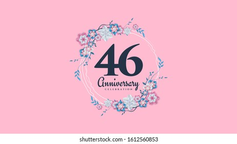 46th anniversary background with illustrations of flowers and leaves surrounding the numbers.
