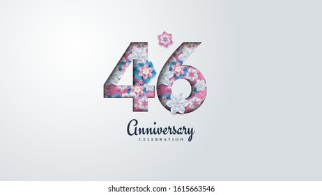 46th anniversary background with illustrations of flowers forming numbers.
