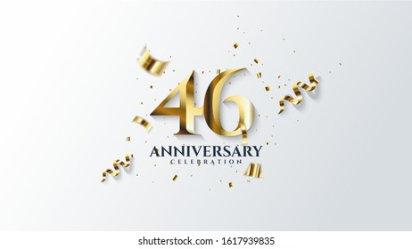 46th anniversary background. with illustrations of gold colored figures and pieces of gold paper on a white background.
