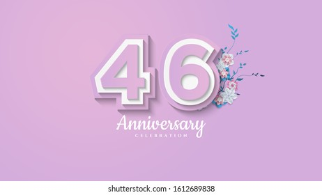 46th anniversary background with illustrations of paper cut figures with soft colors.