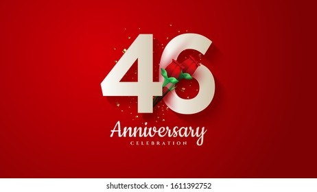 46th anniversary background with illustrations of white numbers and 3d red roses on a red background.