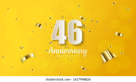 46th anniversary background with illustrations of white numbers and pieces of gold paper on a soft yellow background.