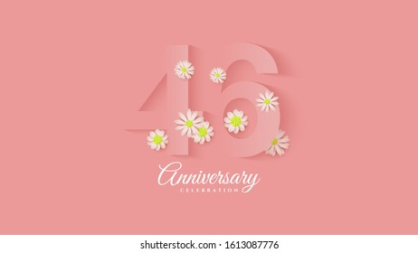 46th anniversary background with pink paper cut illustrations with flowers around.