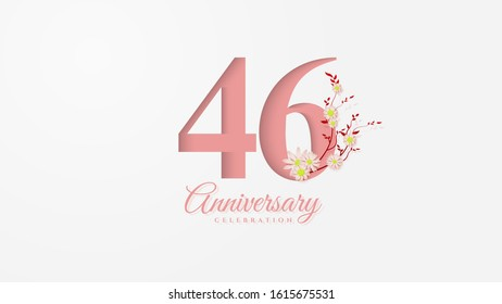 46th anniversary background with pink paper cut figures with flowers next to it.
