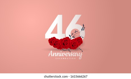 46th anniversary background with white numbers and red roses underneath.