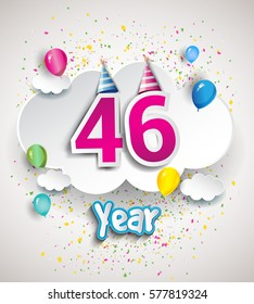 46th Anniversary Celebration Design, with clouds and balloons, confetti. Vector template elements for your, forty six years birthday celebration party.
