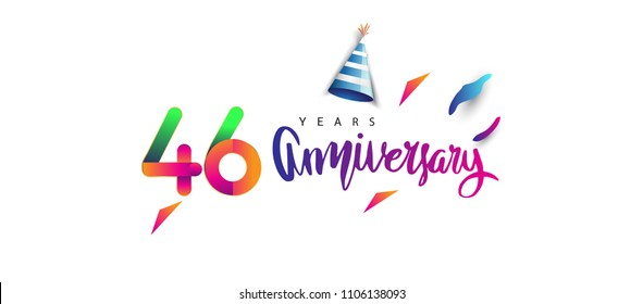 46th anniversary celebration logotype and anniversary calligraphy text colorful design, celebration birthday design on white background.