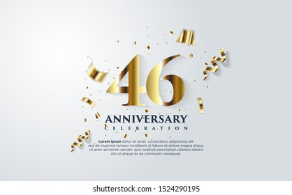 46th anniversary celebration vector background. by using three colors in the design between white, gold and black. vectors can be edited easily according to their needs and desires.