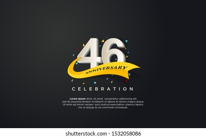 46th anniversary celebration vector background. by using three colors in the design between white, yellow and black. vectors can be edited easily according to their needs and desires.