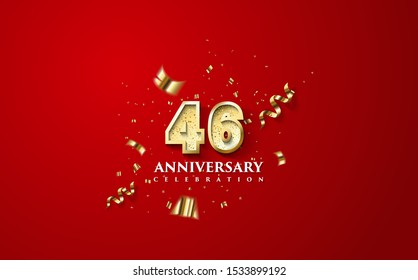 46th anniversary celebration vector background. by using three colors in the design between white, gold and Red. vectors can be edited easily according to their needs and desires.