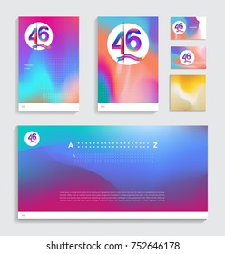 46th anniversary with Fluid colors covers set. celebration template Good for cover, placards, poster, banner, background, flyer design