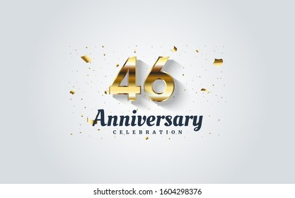 46th anniversary with golden numbers on a white background.
