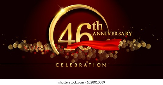 46th anniversary logo with golden ring, confetti and red ribbon isolated on elegant black background, sparkle, vector design for greeting card and invitation card