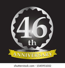 46th anniversary logo with silver and gold ribbon. Vector design template elements for your birthday celebration.