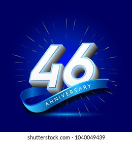 46th Anniversary with ribbon , anniversary template design for web, game , Creative poster, booklet, leaflet, flyer, magazine, invitation card
