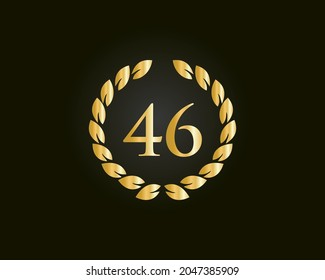 46th Anniversary Ring Logo Template. 46th Years Anniversary Logo With Golden Ring Isolated On Black Background, For Birthday, Anniversary And Company Celebration