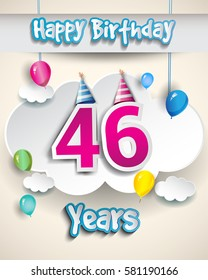46th birthday Celebration Design, with clouds and balloons. Design greeting card and invitation for the celebration party of forty six years anniversary