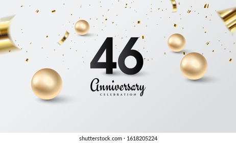 46th celebration background with illustrations of black numbers and gold beads on a white background.
