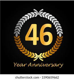 46th gold anniversary celebration logo with golden color and laurel wreath vector design