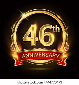 46th golden anniversary logo with ring and red ribbon, vector design.