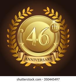 46th golden anniversary wreath ribbon logo