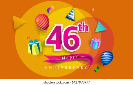 46th Years Anniversary Celebration Design, with gift box and balloons, ribbon, Colorful Vector template elements for your birthday celebrating party.