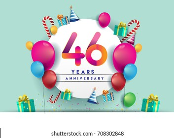 46th years Anniversary Celebration Design with balloons and gift box, Colorful design elements for banner and invitation card.