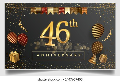 46th years anniversary design for greeting cards and invitation, with balloon, confetti and gift box, elegant design with gold and dark color, design template for birthday celebration.