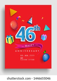 46th Years Anniversary invitation Design, with gift box and balloons, ribbon, Colorful Vector template elements for birthday celebration party.