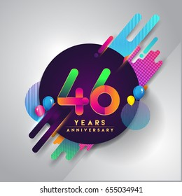 46th years Anniversary logo with colorful abstract background, vector design template elements for invitation card and poster your birthday celebration.