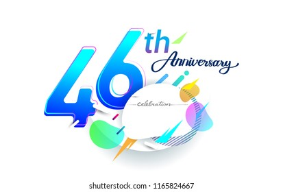 46th years anniversary logo, vector design birthday celebration with colorful geometric background, isolated on white background.