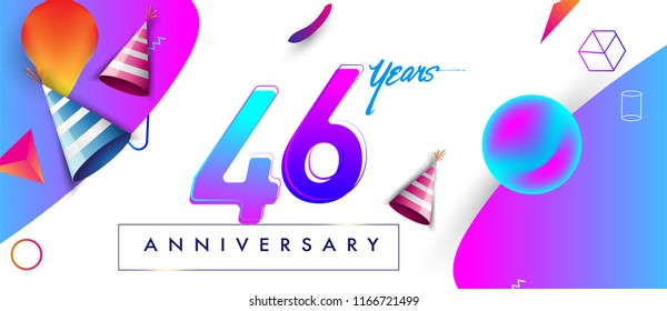 46th years anniversary logo, vector design birthday celebration with colorful geometric background and abstract elements.
