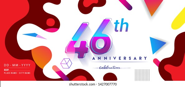 46th years anniversary logo, vector design birthday celebration with colorful geometric background and circles shape.