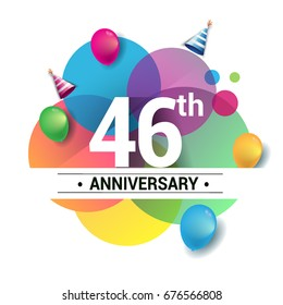 46th years anniversary logo, vector design birthday celebration with colorful geometric, Circles and balloons isolated on white background.