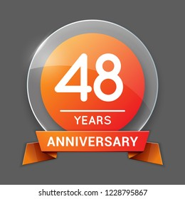48 / Forty Eight Years Anniversary Logo with Glass Emblem Isolated. 48th Celebration. Editable Vector Illustration.