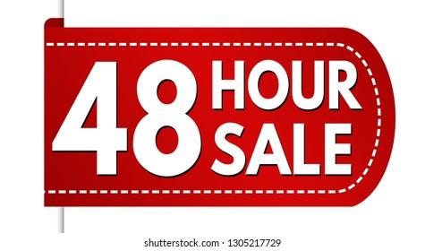 48 hour sale banner design on white background, vector illustration