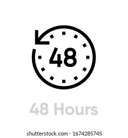48 hours icon. Editable Vector Outline. Symbol Flat Watch illustration in black on white background. Single Pictogram