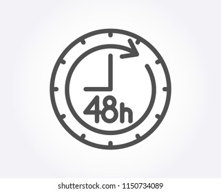 48 hours line icon. Delivery service sign. Quality design element. Classic style. Editable stroke. Vector