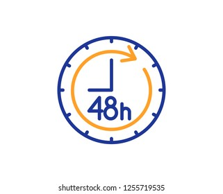 48 hours line icon. Delivery service sign. Colorful outline concept. Blue and orange thin line color icon. 48 hours Vector
