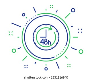 48 hours line icon. Delivery service sign. Quality design elements. Technology 48 hours button. Editable stroke. Vector