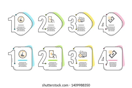 48 hours, Receive money and Web call icons simple set. Rejected payment sign. Delivery service, Cash payment, Phone support. Bank transfer. Infographic timeline. Line 48 hours icon. 4 options or steps