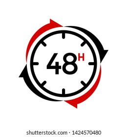 48 Hours vector icon or logo template. Design with red and black color. Can be used for time business.