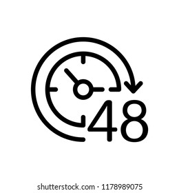 48 hours. Vector icon. White background.