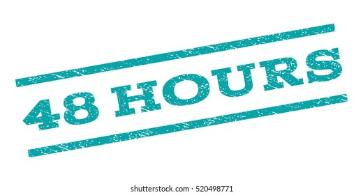 48 Hours watermark stamp. Text tag between parallel lines with grunge design style. Rubber seal stamp with scratched texture. Vector cyan color ink imprint on a white background.