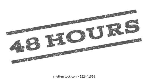 48 Hours watermark stamp. Text caption between parallel lines with grunge design style. Rubber seal stamp with scratched texture. Vector grey color ink imprint on a white background.