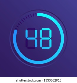 The 48 minutes, stopwatch vector icon, digital timer. Vector digital count down circle board with circle time pie diagram. Watch outline style design, designed for web and app.